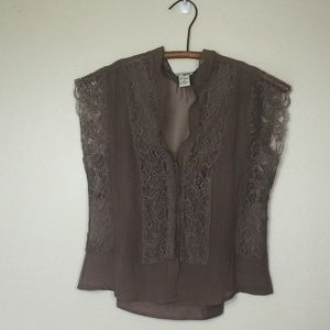 Anthropologie ODILLE Silk Chiffon Pintuck Lace Top